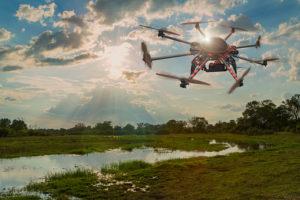 Drone hovering over swamp, Okavango delta, Botswana, Botswana,